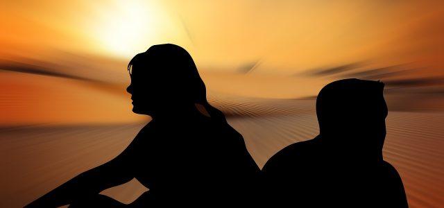 silhouettes, woman, man