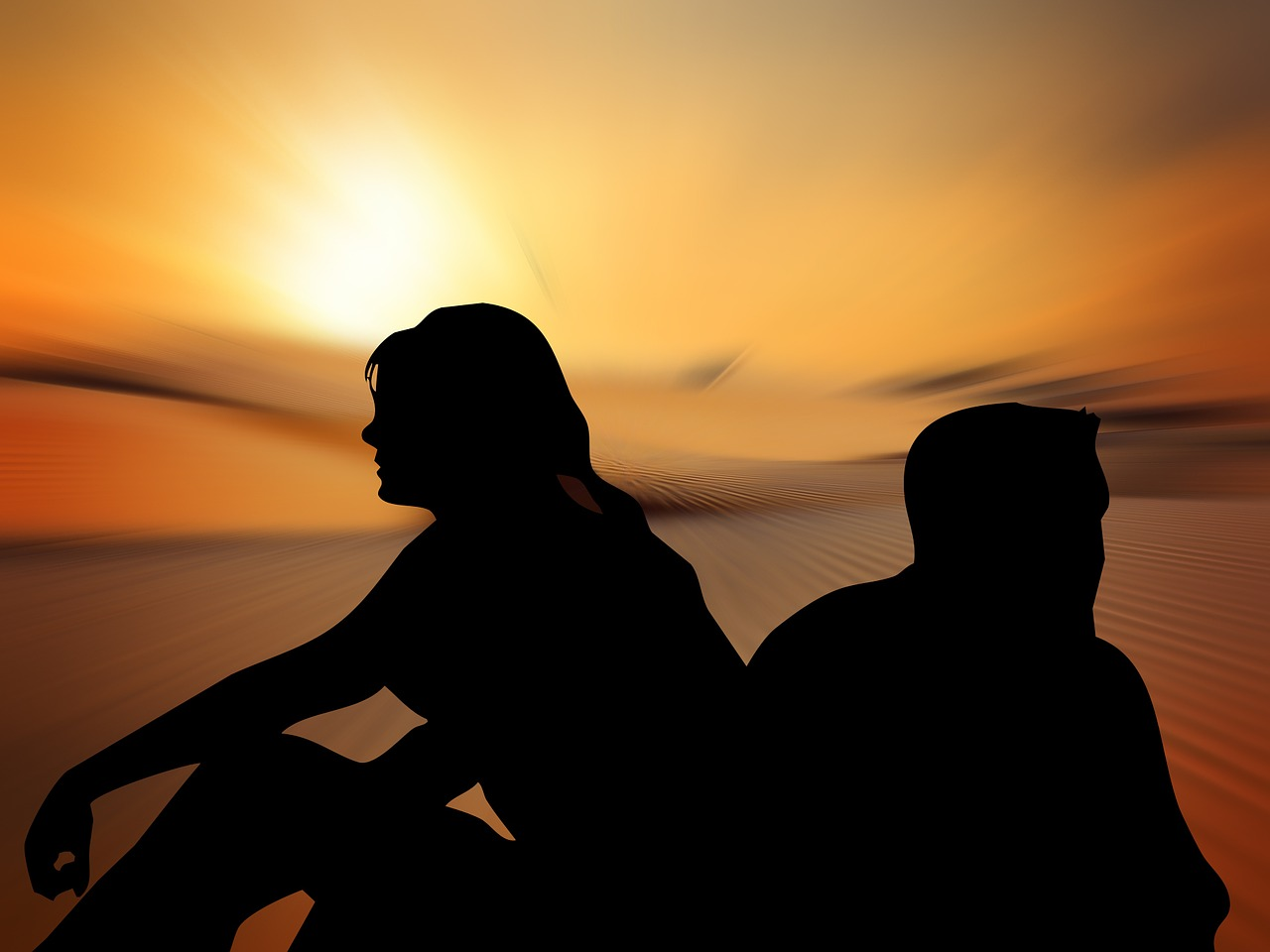 silhouettes, woman, man